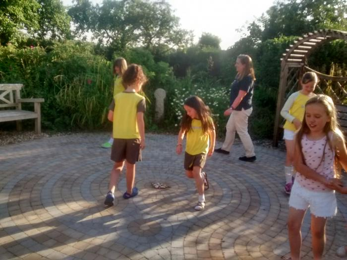 Brownies Walk the Labyrinth at Poole